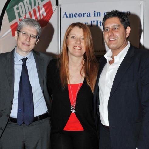 Michela Vittoria Brambilla con Giovanni Toti e Mario Giordano